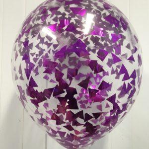 Воздушный шарик с фуше конфетти наполнен гелием 12″(30 см)