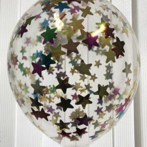 Воздушный шарик с разноцветным конфетти звезды наполнен гелием 12″(30 см)