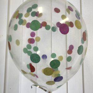 Воздушный шарик с круглым разноцветным конфетти наполнен гелием 12″(30 см)
