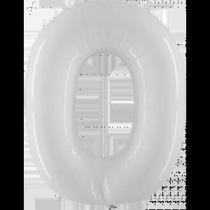 Шар с гелием (40″/102см) Цифра 0 Белый