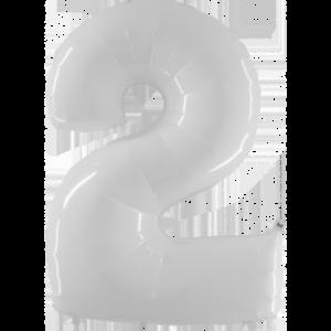 Шар с гелием (40″/102см) Цифра 2 Белый