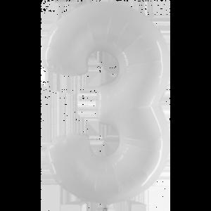 Шар с гелием (40″/102см) Цифра 3 Белый
