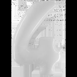 Шар с гелием (40″/102см) Цифра 4 Белый