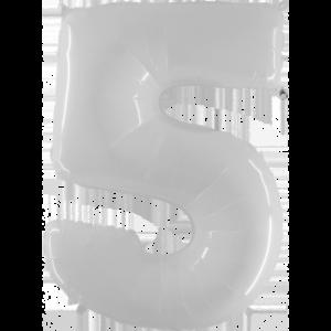 Шар с гелием (40″/102см) Цифра 5 Белый