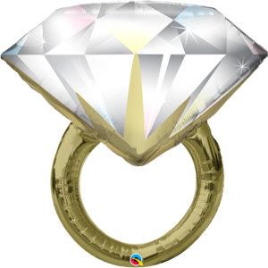 Шар с гелием фигура Кольцо с бриллиантом 37″ 94 см
