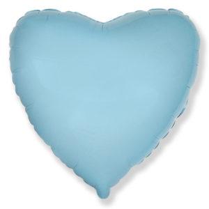 Шар с гелием фольгированный Сердце-Голубой 18″