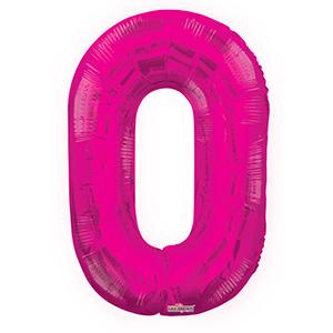 Шар фольгированный с гелием в виде цифры 0 розовый, 91 см