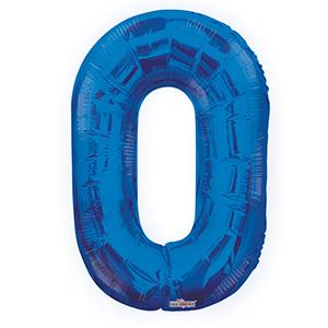 Шар фольгированный с гелием в виде цифры 0 синий, 91 см