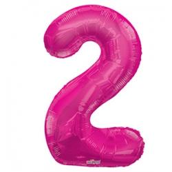 Шар фольгированный с гелием в виде цифры 2 розовый, 91 см