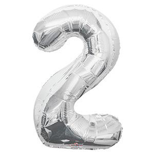 Шар фольгированный с гелием в виде цифры 2 серебро, 91 см
