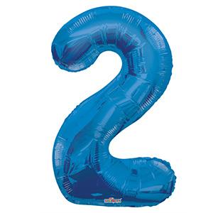 Шар фольгированный с гелием в виде цифры 2 синий, 91 см