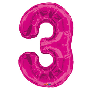 Шар фольгированный с гелием в виде цифры 3 розовый, 91 см