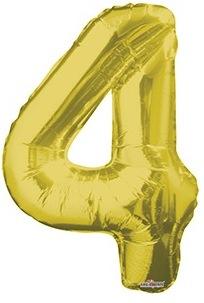 Шар фольгированный с гелием в виде цифры 4 золото, 91 см
