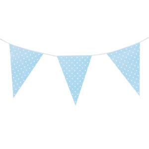 Гирлянда флажки голубые, Точки, 280 см