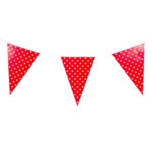 Гирлянда флажки красные, Точки, 280 см