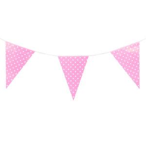 Гирлянда флажки розовые, Точки, 280 см