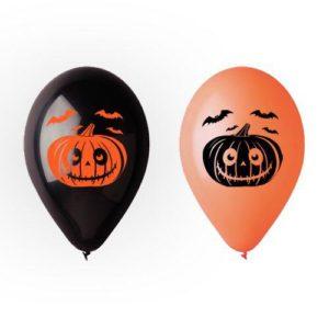 12″ Шар с гелием и рисунком Хэллоуин тыква 1-2 Черный, оранжевый пастель