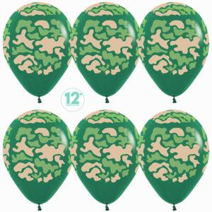 Шар с гелием (12»/30 см) Камуфляж, Темно-зеленый (032)