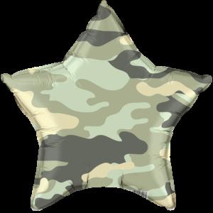 Шар с гелием (18»/46 см) Звезда, Камуфляж, Военный