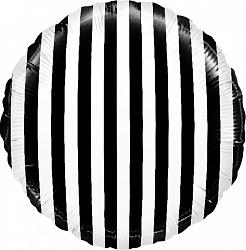 Шар с гелием (18»/46 см) Круг, В полоску, Черный/Белый