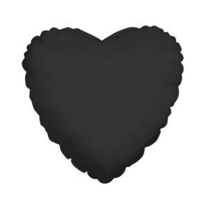 Сердце BLACK 18/45см шар фольга с гелием (к)