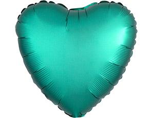 Шар (18″/46 см) Сердце с гелием, Jade, Сатин, Anagram
