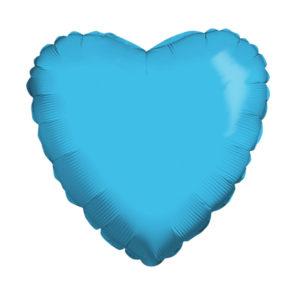 Сердце METALLIC BLUE 18/45см шар фольга с гелием (к)