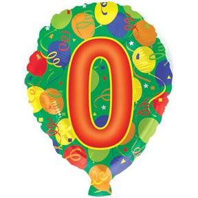 Воздушный шар с гелием (18»/46 см) Цифра 0