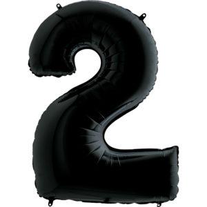 Воздушный шар с гелием (40»/102 см) Цифра, 2, Черный