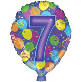 Воздушный шар с гелием (18»/46 см) Цифра, 7