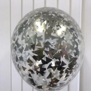 Воздушный шарик с серебристым конфетти наполнен гелием 12″(30 см)