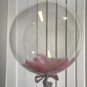 Шар с гелием и розовыми/белыми перьями (18»/46 см) Сфера 3D, Deco Bubble, Прозрачный