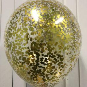 Воздушный шарик с мелким золотым конфетти наполнен гелием 12″(30 см)
