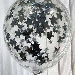 Воздушный шарик с серебристым конфетти звезды наполнен гелием 12″(30 см)