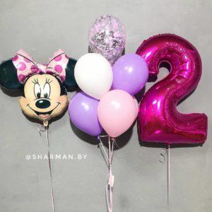 Композиция из воздушных шаров «Минни 2 годика»