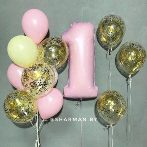Композиция из воздушных шаров «Ее первый День рождения»